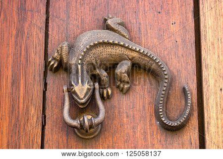 Door knocker Iguana shaped in Cartagena de Indias