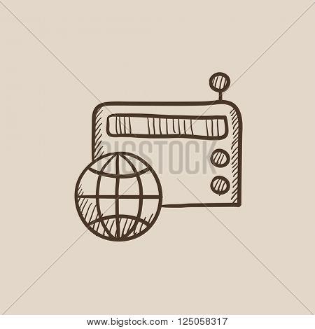 Retro radio sketch icon.