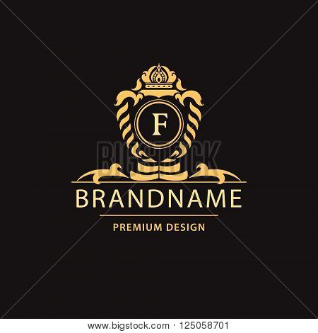 Vector illustration of Luxury Vintage logo. Business sign label Letter emblem F for badge crest Restaurant Royalty Boutique brand Hotel Heraldic Jewelery Fashion Real estate Resort tattoo Auctions