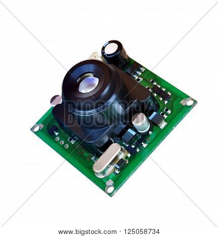 Module miniature digital video camera on white background