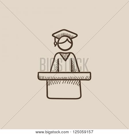 Graduate standing near tribune sketch icon.