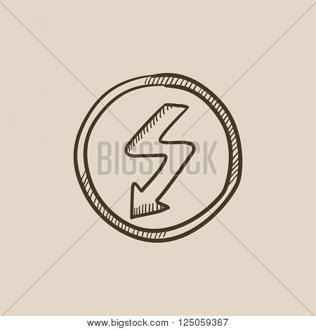 Lightning arrow downward sketch icon.