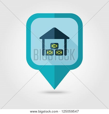 Shed flat pin map icon. Map pointer. Map markers. Farm. Field. Vector illustration eps 10