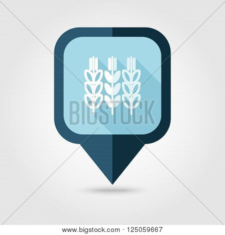 Spikelets of wheat flat pin map icon. Map pointer. Map markers. Farm. Field. Harvest. Vector illustration eps 10