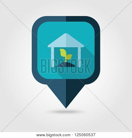 Greenhouse flat pin map icon. Map pointer. Map markers. Farm. Field. Vector illustration eps 10