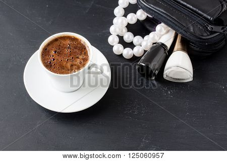 Turkish coffee with masculine style on a black background