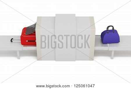 Illustration of baggage scanner isolated on white background. 3d rendering.