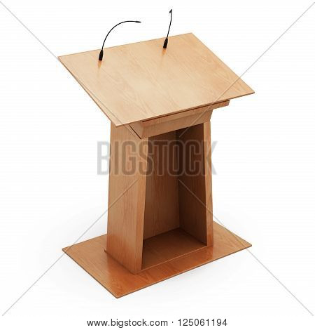 Podium tribune with microphones isolated on white background. 3d rendering.