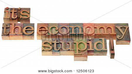 The Economy Stupid - Phrase In Letterpress Type