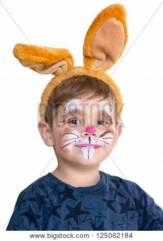 Boy Child Face Painted Easter Bunny