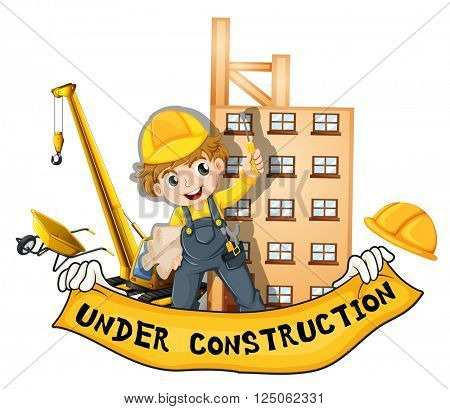 Worker working at the construction site illustration