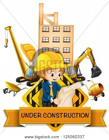 Engineer and building being under construction illustration