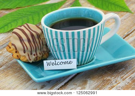 Welcome card with chocolate and toffee cookie
