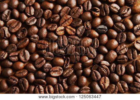 A closeup overhead view of several fresh coffee beans filling the whole frame of the image.