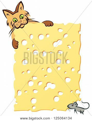 slice of cheese with cat and mouse suspense