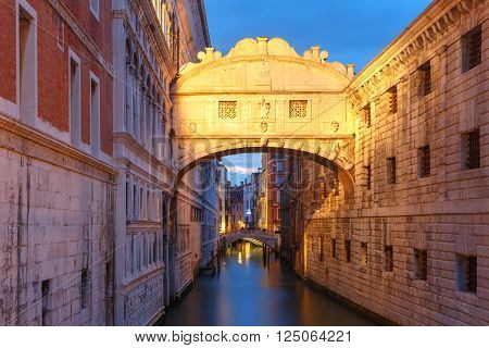 Bridge of Sighs or Ponte dei Sospiri at night, Venice, Italy