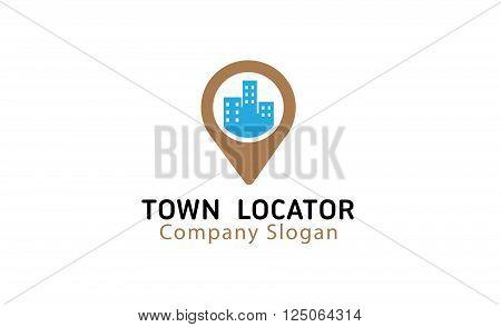 Town Locator Creative And Symbolic Logo Design Illustration