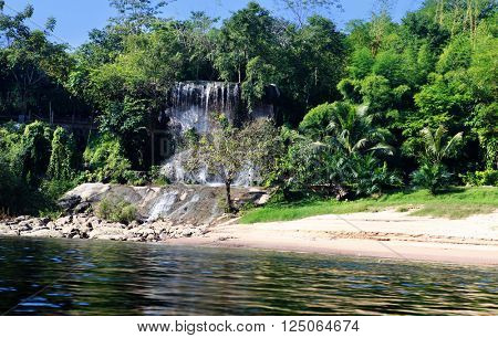waterfall on Kwai river in Thailand