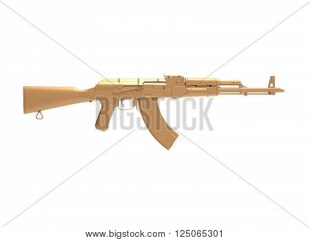 akm assault rifle 3d illustration in color. metal parts. body. lines contour.