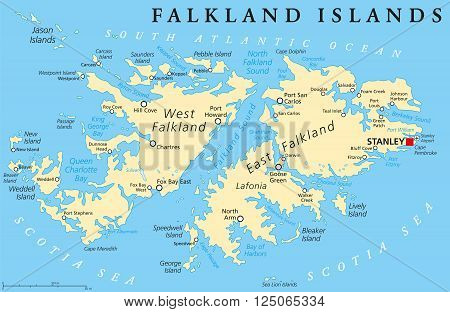 Falkland Islands, also Malvinas, political map with capital Stanley, administered under United Kingdom, claimed by Argentina. English labeling and scaling. Illustration.
