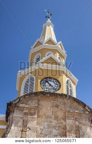 Public Clock Tower in Cartagena de Indias