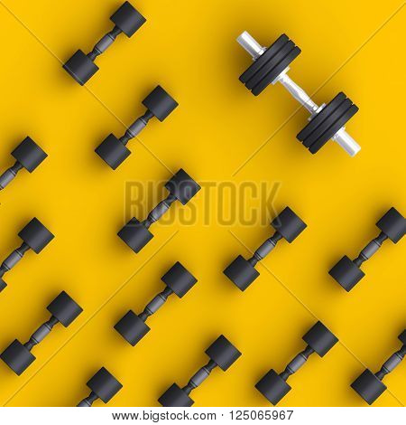 Sport Background With Black Dumbells Over Simple Background.