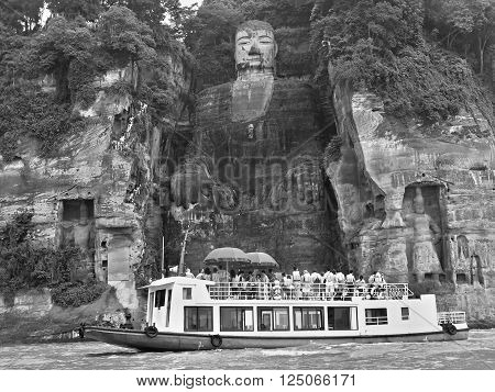 LESHAN (SICHUAN PROVINCE) - CHINA, CIRCA MAY 2015: Leshan Giant Buddha is 71 meters (233 ft) tall stone statue built during the Tang Dynasty. It is carved into the cliff.