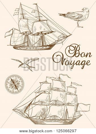 Set of vintage vector hand drawn sailing ships