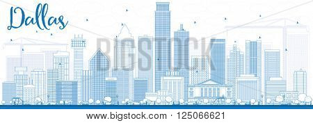 Outline Dallas Skyline with Blue Buildings. Vector Illustration. Business Travel and Tourism Concept with Modern Buildings. Image for Presentation Banner Placard and Web Site.