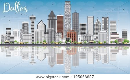 Dallas Skyline with Gray Buildings, Blue Sky and Reflections. Vector Illustration. Business Travel and Tourism Concept with Modern Buildings. Image for Presentation Banner Placard and Web Site.