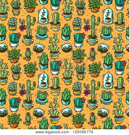 Beautiful hand drawn vector seamless pattern cacti and succulents. Doodle style