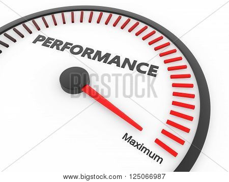 3d rendering of performance speed meter with needle at maximum