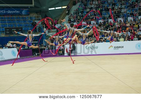 MOSCOW RUSSIA - FEBRUARY 19 2016: group exercises the Israeli team on Rhythmic gymnastics Alina Cup Grand Prix Moscow - 2016 in Moscow sport palace Luzhniki Russia