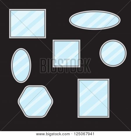 Mirror set design form. Mirror reflection and mirror frame bathroom mirror and wall mirror mirror fashion and vintage border furniture. Vector flat design illustration