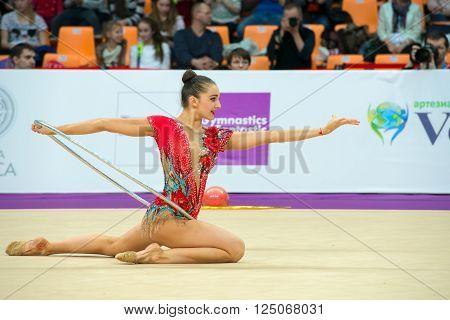 MOSCOW RUSSIA - FEBRUARY 19 2016: Volkova Ekaterina Finland on Rhythmic gymnastics Alina Cup Grand Prix Moscow - 2016 in Moscow sport palace Luzhniki Russia