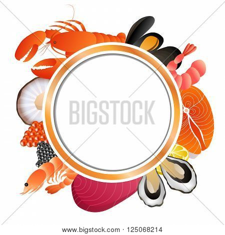 Circle frame food background fish mussel shrimp oyster salmon lobster tuna caviar scallop vector