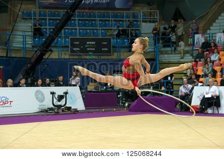 MOSCOW RUSSIA - FEBRUARY 19 2016: Olsson Josefine Sweden on Rhythmic gymnastics Alina Cup Grand Prix Moscow - 2016 in Moscow sport palace Luzhniki Russia