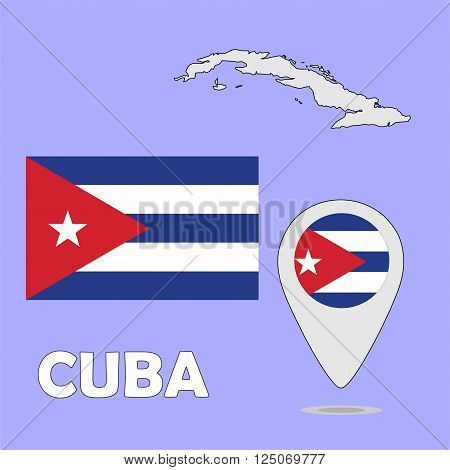 A pointer map and flag of Cuba
