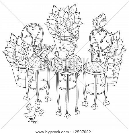 Vector cute birthday tea time.Vector line illustration.Sketch for coloring adult book.Boho style hand drawn doodle.Terassa chairs table teapot pie plants in pots birds tea time.