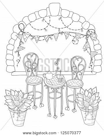 Vector cute birthday tea time.Vector line illustration.Sketch for coloring adult book.Boho style hand drawn doodle.Terassa chairs table teapot pie plants in pots birds tea timestone arch.