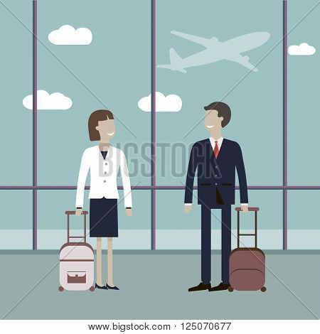 Business travelers in the airport terminal. Vector illustration. Group of business person at the international airport. Business travellers man woman waiting for their flight at airport. Vector flat characters.