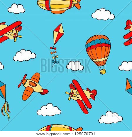 Flying airplane balloon airship kite cloud graphic art color seamless pattern illustration vector