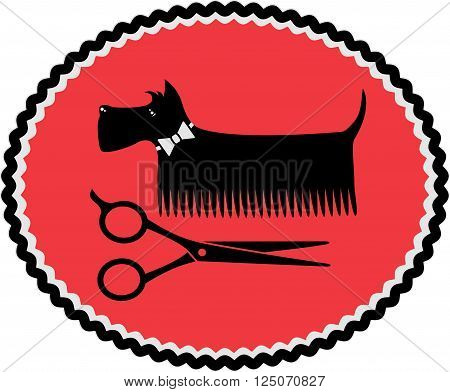 red sign in frame with grooming dog and scissors
