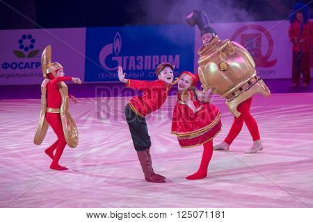 MOSCOW RUSSIA - FEBRUARY 21 2016: Unidentified dancers dance gymnastics team at the gala concert Grand Prix Moscow - 2016 in Moscow sport palace Luzhniki Russia