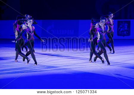 MOSCOW RUSSIA - FEBRUARY 21 2016:Son Yeon Jae Korea at the gala concert Grand Prix Moscow - 2016 in Moscow sport palace Luzhniki Russia