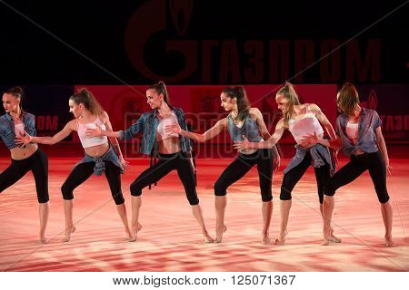 MOSCOW, RUSSIA - FEBRUARY 21, 2016: The team of Germany on Rhythmic gymnastics at the gala concert Grand Prix Moscow - 2016 in Moscow sport palace Luzhniki, Russia