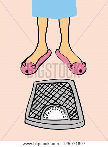 A pair of woman's legs in pink animal slippers stands near a set of bathroom weighing scales