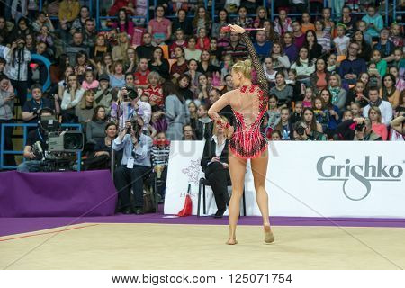 MOSCOW, RUSSIA - FEBRUARY 21, 2016: Ruprecht Nicol, Austria on Rhythmic gymnastics Alina Cup Grand Prix Moscow - 2016 in Moscow sport palace Luzhniki, Russia