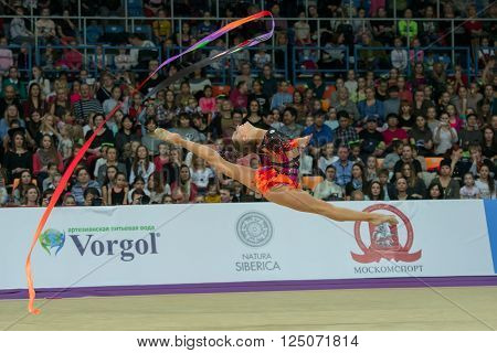 MOSCOW RUSSIA - FEBRUARY 21 2016: Staniouta Melitina Belarus on Rhythmic gymnastics Alina Cup Grand Prix Moscow - 2016 in Moscow sport palace Luzhniki Russia