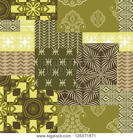 Bandanna patchwork fabric .Seamless pattern in camouflage colors
